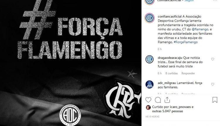 Times sergipanos manifestam solidariedade ao Flamengo