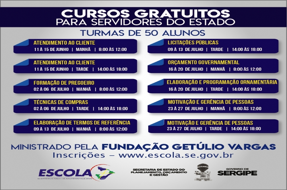 Inscricoes Abertas Para Cursos Da Escola De Governo Infonet O Que E Noticia Em Sergipe